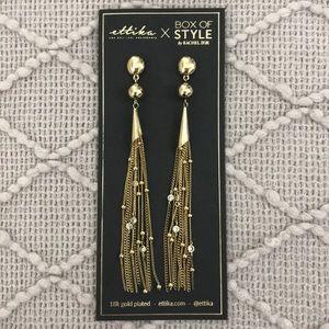 NWT Ettika Chain Drop Tassel Earrings in Gold